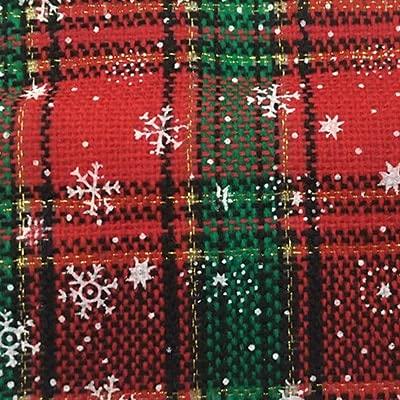 AIREQN Tissu de Noël en Tissu en Tissu en Coton en Tissu en Tissu en Tissu de Neige imprimé en caissier en caissier Tissu à Carreaux pour la décoration de Noël DIY Robe