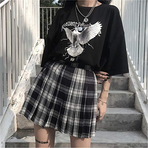 WEDFGX Été Harajuku Jupes Femmes rétro Plaid Taille Haute lâche Jupe plissée Nouvelle Mode Gothique Streetwear Grunge Style Femme Jupes