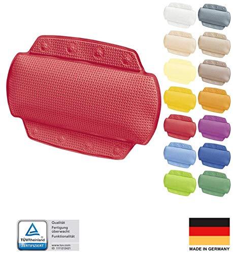 Spirella badkussen Alaska rood met 8 zuignappen antibacterieel, antislip 23 x 32 cm wasbaar, Made in Germany