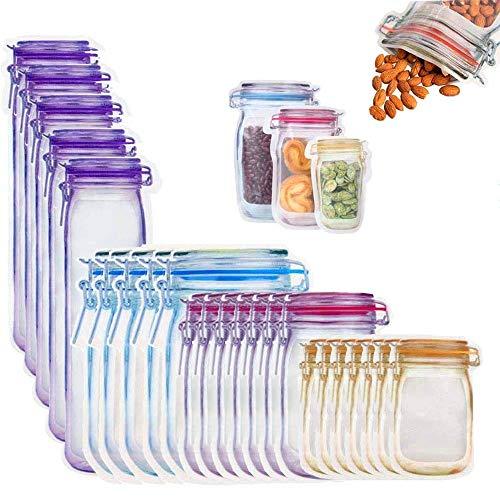 FAFAFA 24 Piezas,Bolsa de Botella Mason,Bolsas de Silicona Reutilizables,Bolsas Reutilizables de Almacenamiento de Alimentos,Bolsas Congelar Reutilizables,Bolsas de conservación