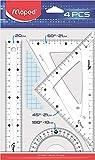 Maped Kit Disegno Con Righello 20 Cm, 2 Squadre 21 Cm, Goniometro 10 Cm