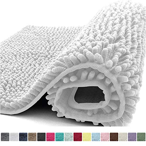 Kangaroo Plush Luxury Chenille Bath Rug, 30x20, Extra Soft and Absorbent Shaggy Bathroom Mat Rugs, Washable, Strong Underside, Plush Carpet Mats for Kids Tub, Shower, and Bath Room, White