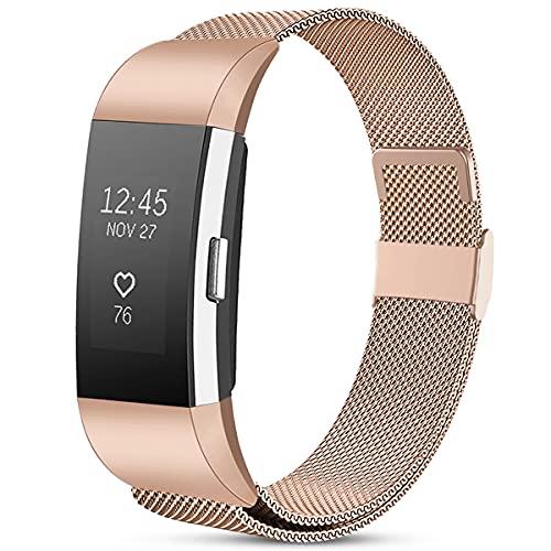Funbiz Compatibile con Cinturino Fitbit Charge 2, Cinturini Regolabili in Metallo in Acciaio Inossidabile per Fitbit Charge 2, Uomo e Donna Piccoli Oro Rosa