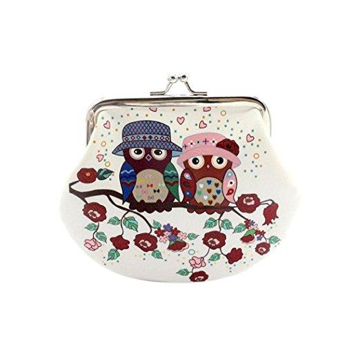 Rovinci Frauen Retro PU-Leder Portemonnaie Börse Eule gedruckt Kleine Brieftasche Hasp Geldbörse Unterarmtasche (14cmX12cm, Weiß-04)