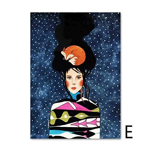 yhyxll Aquarell Haar Mädchen Wandkunst Leinwand Malerei Vögel Blumen Nordic Poster Blatt Wandbilder Für Wohnzimmer Wohnkultur Ungerahmt E 50X70cm