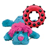 KONG - Cozie Lion and Dotz Circle - Cuddly Plush Toy and Chew Toy - for Small Dogs