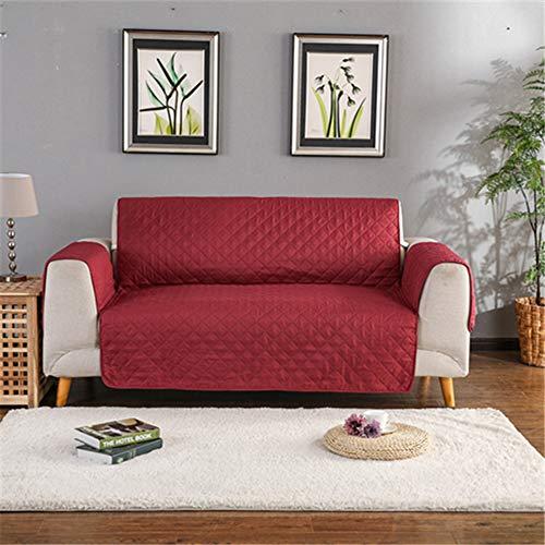 QINQIN Gesteppt Anti-Verschleiß Sofa Abdeckungen für Hunde Pets-Anti-Rutsch-Couch Lehnstuhl Slipcovers Sessel Möbel Schutz 1/2/3 Seater,Rot,One seat 55 * 195cm