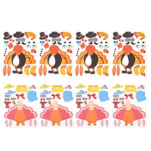 8 STKS 34×24 cm Thanksgiving Dag Turkije Plakken Spel Puzzel Stickers voor Party Home Verzamelen Festival