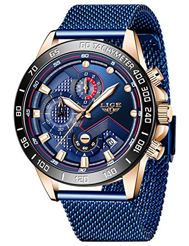 LIGE Herren Uhren wasserdichte Edelstahl Analoge Quarz Armbanduhr Männer Blau Herren Sport Militäruhr Chronograph mit Milanaise Armband