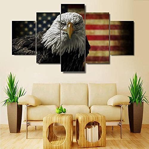 COCOCI Lienzo 5 Piezas American Eagle Flag: decoración Lienzos Decorativos Cuadros Grandes Baratos Cuadros Decoracion Cuadros para Dormitorios Modernos Cuadros Decoracion Regalos Personalizados