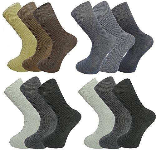 6/12 Pack niet-elastische mannen sokken gesorteerde partij 100% katoen Rijke enkel Rib Lange
