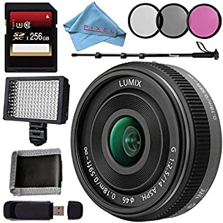 Panasonic Lumix G 14mm f/2.5 ASPH Lens + 256GB SDXC Card + 46mm 3 Piece Filter Kit + Deluxe 70