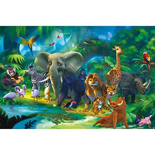 GREAT ART Mural de Pared Cuarto De Los Niños – Jungla Safari – Parque Natural Animales Salva Jirafa Elefante Mono Lion Loro Estilo Cómico Papel Pintado Tapiz y decoración (210x140 cm)