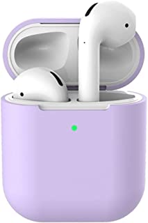AirPods Accessories Set,Silicone Anti-lost Protective Cover Skin Case for Apple AirPods 2 Charging Case Purple