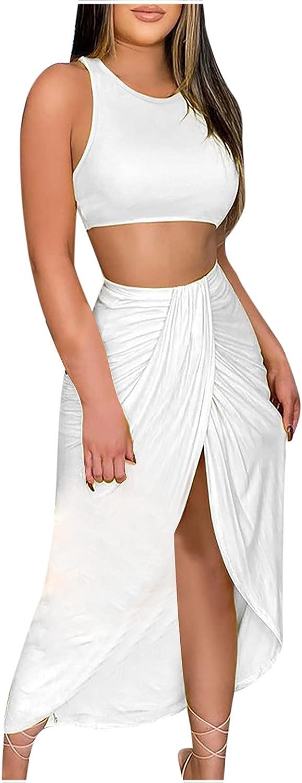 Summer Dress Women's Crop Tops Split Skirt Set Solid Color Sexy Sleeveless Strapless Vest Dress Party Dress