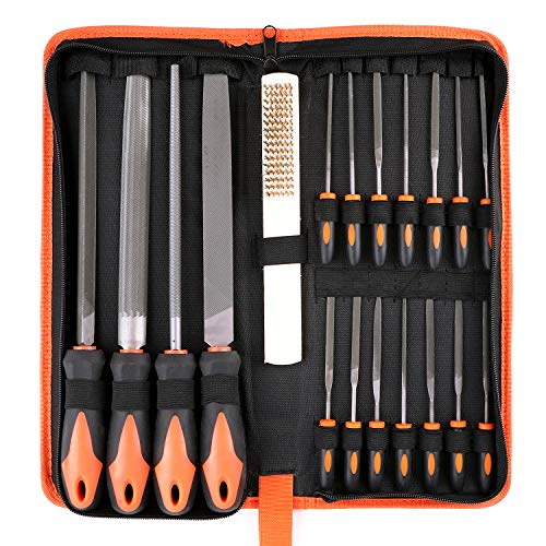 Kingrol 18 Pieces High Carbon Steel File Set with Carrying Case, Wooden Hand Tool for Woodwork, Metal, Leather, Model DIY