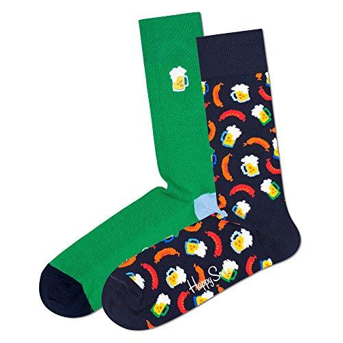 Happy Socks Beer Socks Gift Set 2-Pack farbenfrohe und verspielte Geschenkboxen für Männer und Frauen, Premium-Baumwollsocken, 2-Paare,Größe 41-46