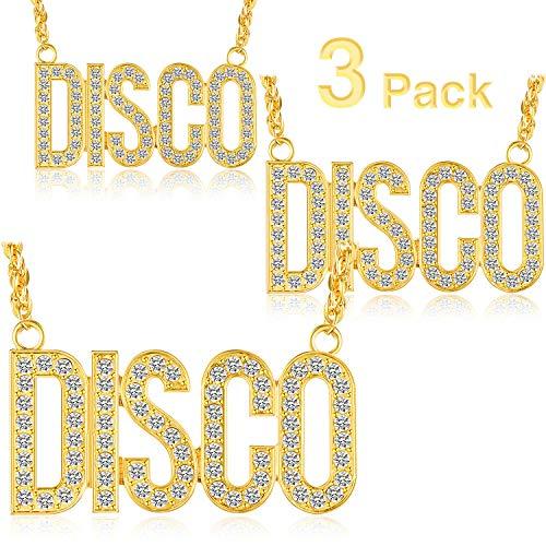 Hicarer 3 Stücke Disco Halskette Gold Disco Zeichen Halskette Disco Kette für Jugendliche Erwachsene 50er Jahre 60er Jahre 70er Jahre Partyzubehör