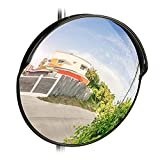 Relaxdays 10028416_46 Espejo de Seguridad, Profesional, Irrompible, Interior & Exterior, con Soporte, 45 cm, Negro