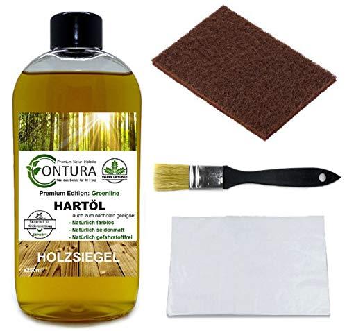 Contura Premium Hartöl SET Holzpflegeöl Objektöl Holzpflege Holzöl Tisch Arbeitsplatten Möbelöl Holzschutz nachölen auffrischen pflegen Holzpflegeset Pflegemittel