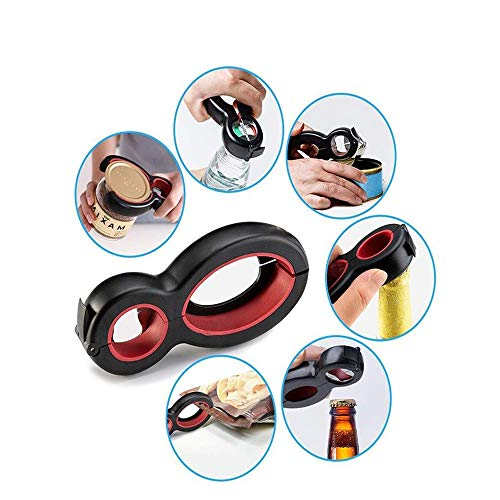 Jsdoin apriscatole 6 in 1 multifunzionale antiscivolo apriscatole tappo svitare l'apribottiglie manuale portatile in acciaio inox progettato da utensili da cucina, utilizzato per cucina ristorante