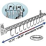 Hängeleiste Küchenreling Ohne Bohren, EINFAGOOD Küchenhakenleiste 10 Haken mit Messerhalter und Topfdeckel Halter, Edelstahl Doppelrohr. Länge erweiterbar von 40 auf 72 cm (40-72 cm)