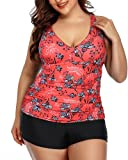 Yonique Plus Size Tankini Swimsuits for Women with Shorts Tummy Control Two Piece Bathing Suits Slimming Swimwear Red Floral 18Plus