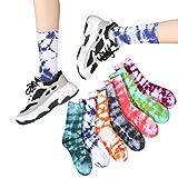 NNGT Calcetines Deportivos Calcetines Largos Unisex Harajuku Calcetines de Skate de Algodón Tie Dye Baloncesto Calcetines de Skate Transpirables Calcetines de Hip Hop Calcetines Largos
