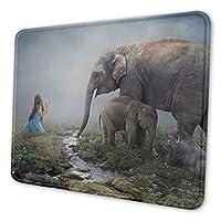 象と少女 マウスパッド 25 X 30cm 滑り止め 防水 おしゃれ 洗える ビジネス用 家庭用 ゲーム用