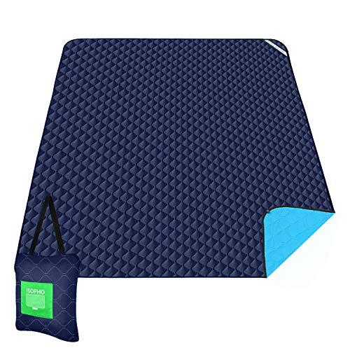 ISOPHO Outdoor-Picknickdecke Extra große wasserdichte Campingdecke mit Umhängetasche Bequeme sanddichte Picknickdecke 200 * 170cm Packbare Picknickdecke für Camping Wandern Gras Reisen