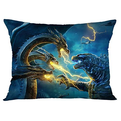 Macofcust Godzilla Funda de Almohada, diseño de Monstruo de película, Fundas de Almohada Decorativas para sofá, Dormitorio, decoración del hogar, 20 x 30 Pulgadas