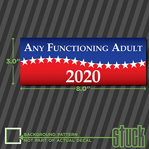 """Any Functioning Adult 2020-8.0""""x3.0"""" - Printed Vinyl Decal Sticker"""