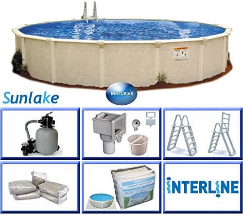 Interline 55000112 rund Pool Sunlake Durchmesser 3,60m, Tiefe 1,32m, Komplett Set 4m³/h, Wasserinhalt ca. 12m³
