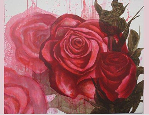 Geburtstagskarte Rose, Karte rote Rosen, Glückwunschkarte Blumen, florale Hochzeitskarte, Grußkarte Blume, Karte, Rosen Druck, Acrylmalerei, rote Rose