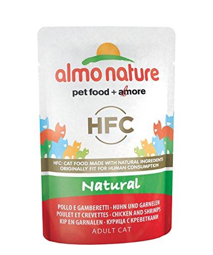 Almo Nature HFC Natural Lot de 24 sachets de Nourriture Humide pour Chat Poulet et crevettes 55 g