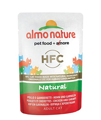 almo nature Cat HFC Natural Pollo y Gambas - Paquete de 24 x 55 gr - Total: 1320 gr