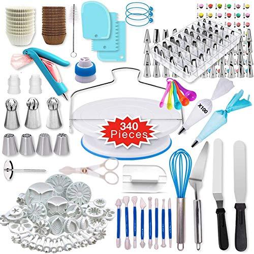 ALY Torten Dekoration Set, Kuchen Drehteller Tortenplatte drehbar Tortenständer mit Edelstahl Spritztüllen Silikonbeutel und Einweg Spritzbeutel 340-Set