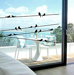 Telephone pole bird wall sticker glass window living room wallpaper bedroom TV backdrop decorative wall sticker