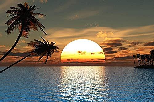 Personalisierte 3D Fototapete Tropischer Ozean Sonnenuntergang Wandaufkleber Palme Selbstklebende PVC Wandaufkleber mit entfernbare fototapete 3d Tapete effekt Vlies wandbild Schlafzimmer-250cm×170cm