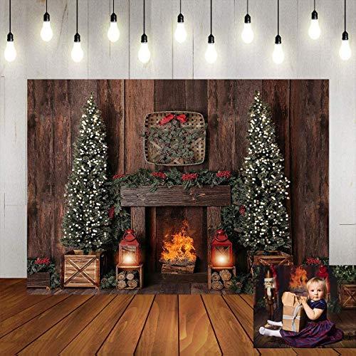 Avezano 1,8 x 1,2 m telón de fondo de chimenea de Navidad para fotografía, decoración de árbol de Navidad, fiesta de cumpleaños, pancarta familiar de estudio de fotos