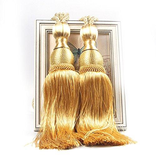 LianLe EIN Paar Vorhang Raffhalter Band Binden Quasten Design Gardine Bänder (Gold)