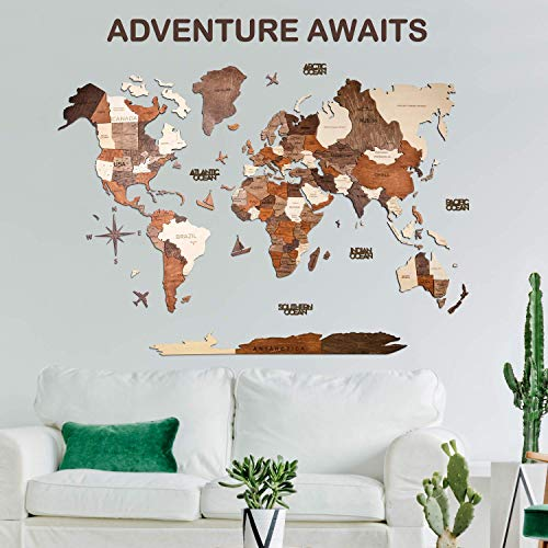 3D Wood World Map Wall Art. Large Wall Decor - World Travel Map All Sizes (M,L,XL,XXL). Any Occasion Gift Idea - Wall Art For Home & Kitchen or Office