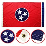 Winbee Tennessee State Flag 3x5 Ft with Embroidered Stars, Long Lasting Nylon with, Brass Grommets and UV Protected, 3 by 5 USA Tennessee Flag