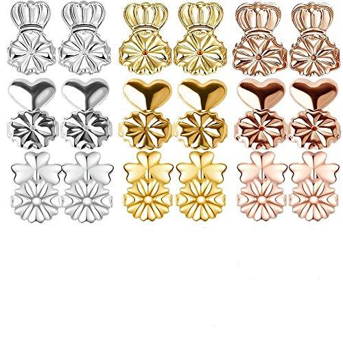 HIQE-FL Silikon Ohrring Stopper,Magic Ohrring-Verschlüsse,Ohrring Ohrstopper,Earring Backs Gold,Ohrstecker Verschlüsse Gold,Ohrring Verschluss Gold(9 Paar)
