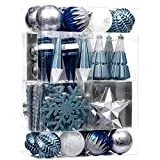 Valery Madelyn 155ct Winter Wishes Christmas Ball Ornaments Blue Silver Assorted, Shatterproof Christmas Tree Ornaments Decoration Large Plastic Xmas Christmas Balls Bulk for Tree Decor