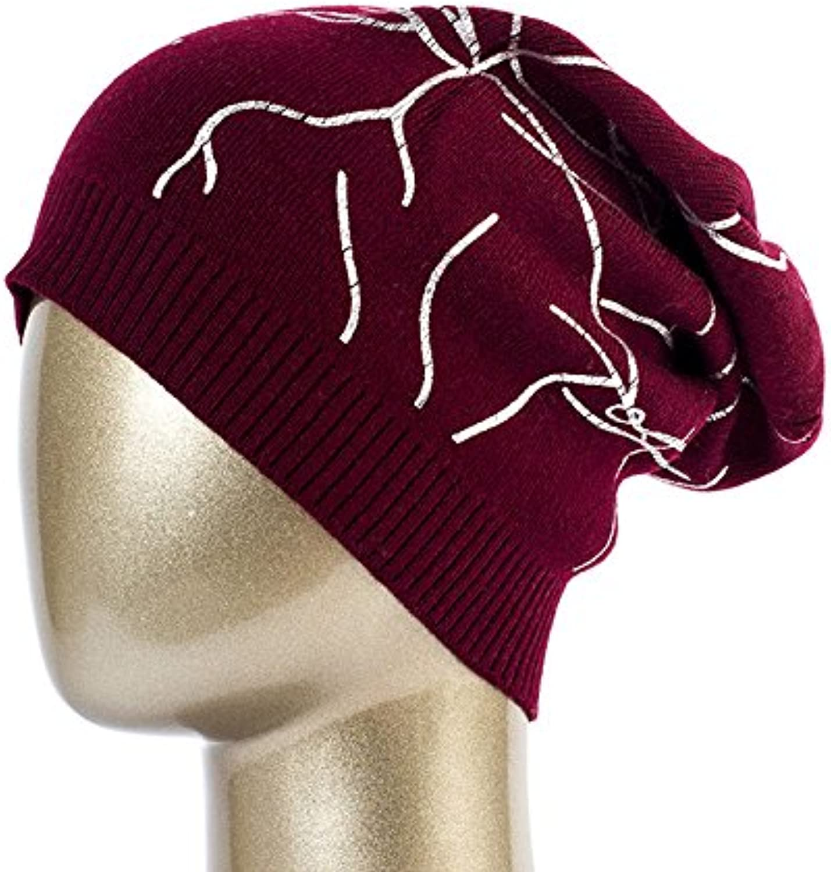QETUOAD Women's Geometric Print Beanies Hat Casual Spring Knitted Hats Ladies Autumn Printing Beanie Cap Dq415B