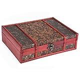 木製ストレージボックスヴィンテージスタイル古典的な木製ケースジュエリーストレージディスプレイボックス容器ジュエリーストレージ、カードコレクション ホームデコレーション用(2)