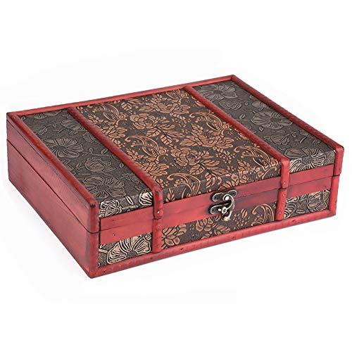 Hztyyier Caja de Tesoro Caja de Madera Vintage Almacenamiento de joyería Contenedor de exhibición para decoración de Boda de Fiesta de cumpleaños(#02)