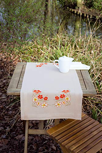 Groves + Banks PN-0145199 Broderie : Runner : Coquelicots et Fleurs, Toile, Multi, 40 x 2 x 20 cm