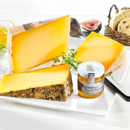 Probierbox Käse, Käsespezialitäten: italienischer Schafskäse, Bergkäse von der Hochalpe, Wildblumenkäse, Feigen-Senf-Sauce